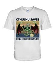 Cthulhu Saves V-Neck T-Shirt thumbnail