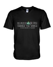 She Became A Teacher V-Neck T-Shirt thumbnail