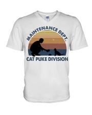 Cat Puke Division V-Neck T-Shirt thumbnail