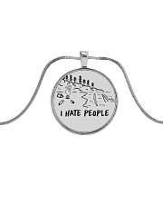 I Hate People Metallic Circle Necklace thumbnail