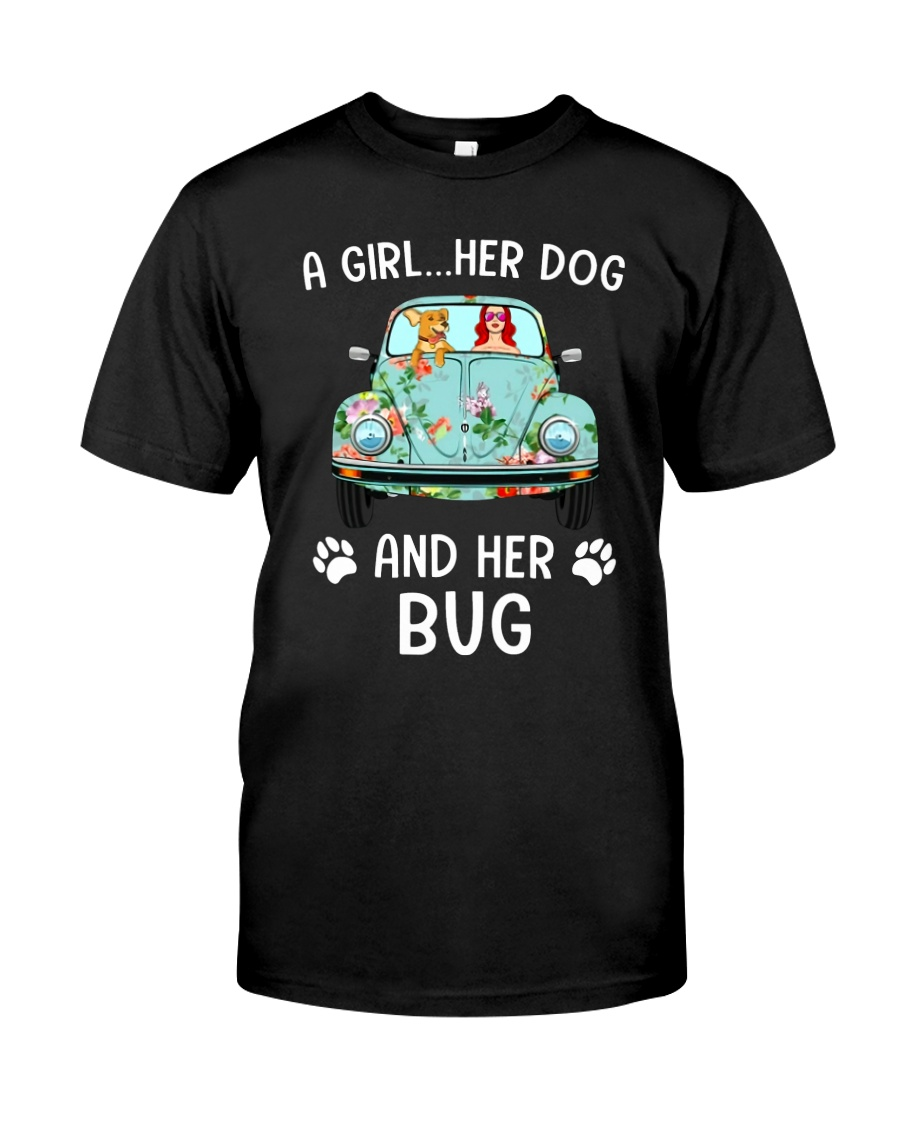 A Girl And Her Dog And Her Bug Classic T-Shirt