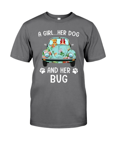 A Girl And Her Dog And Her Bug