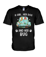 A Girl And Her Dog And Her Bug V-Neck T-Shirt thumbnail