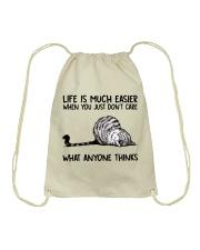 Life Is Much Easier Drawstring Bag thumbnail
