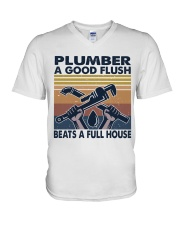 Plumber A Good Flush V-Neck T-Shirt thumbnail