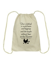 She Is Clothed In Much Books Drawstring Bag thumbnail