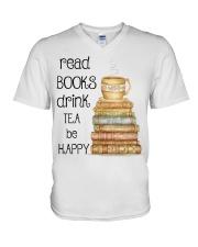 Read Books Drink Tea Be Happy V-Neck T-Shirt thumbnail