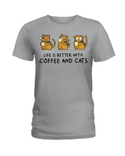 Coffee And Cats Ladies T-Shirt thumbnail