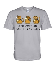 Coffee And Cats V-Neck T-Shirt thumbnail