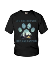 Dogs And Camping Youth T-Shirt thumbnail