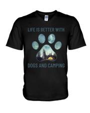 Dogs And Camping V-Neck T-Shirt thumbnail