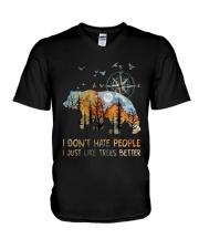 I Don't Hate Peopple V-Neck T-Shirt thumbnail