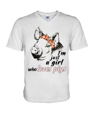 Just A Girl Who Loves Pigs V-Neck T-Shirt thumbnail