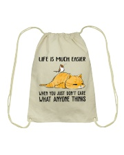 Life Is Much Easier Drawstring Bag thumbnail