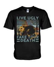 Live Ugly Fake Your Death V-Neck T-Shirt thumbnail