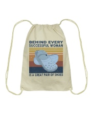 Behind Every Succesful Woman Drawstring Bag tile