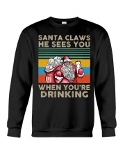 Santa Claws He Sees You Crewneck Sweatshirt thumbnail