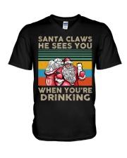 Santa Claws He Sees You V-Neck T-Shirt thumbnail