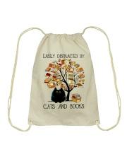 Cats And Books Drawstring Bag thumbnail