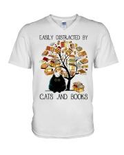 Cats And Books V-Neck T-Shirt thumbnail