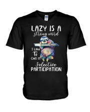 Lazy Is A Strong Word V-Neck T-Shirt thumbnail