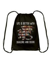Dragons And Books Drawstring Bag thumbnail