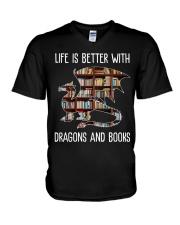 Dragons And Books V-Neck T-Shirt thumbnail