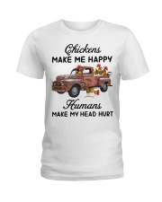 Chickens Make Me Happy Ladies T-Shirt tile