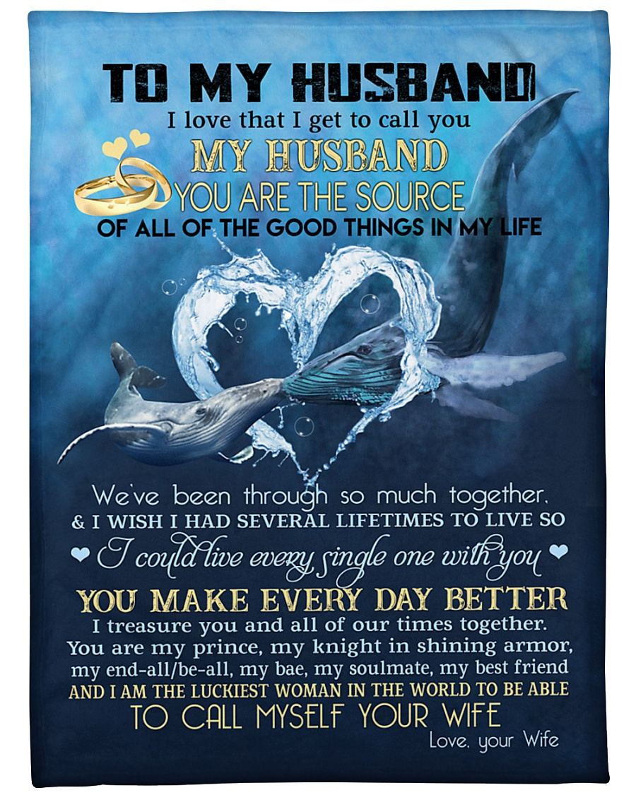 """My husband you are my source perfect gift for him Large Fleece Blanket - 60"""" x 80"""""""
