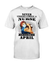 never underestimate a nurse S-4 Classic T-Shirt tile