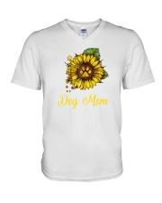 Sunflower Dog Mom Paw  V-Neck T-Shirt thumbnail