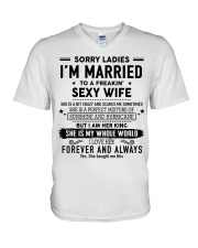 Sorry ladies i'm married to a freaking sexy wife V-Neck T-Shirt thumbnail