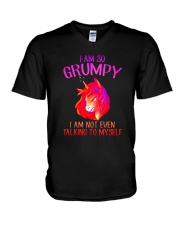 Unicorn grumpy V-Neck T-Shirt thumbnail