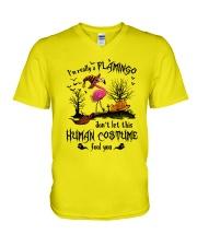 Flamingo human costume V-Neck T-Shirt thumbnail
