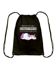 Unicorn exhaustipated Drawstring Bag thumbnail