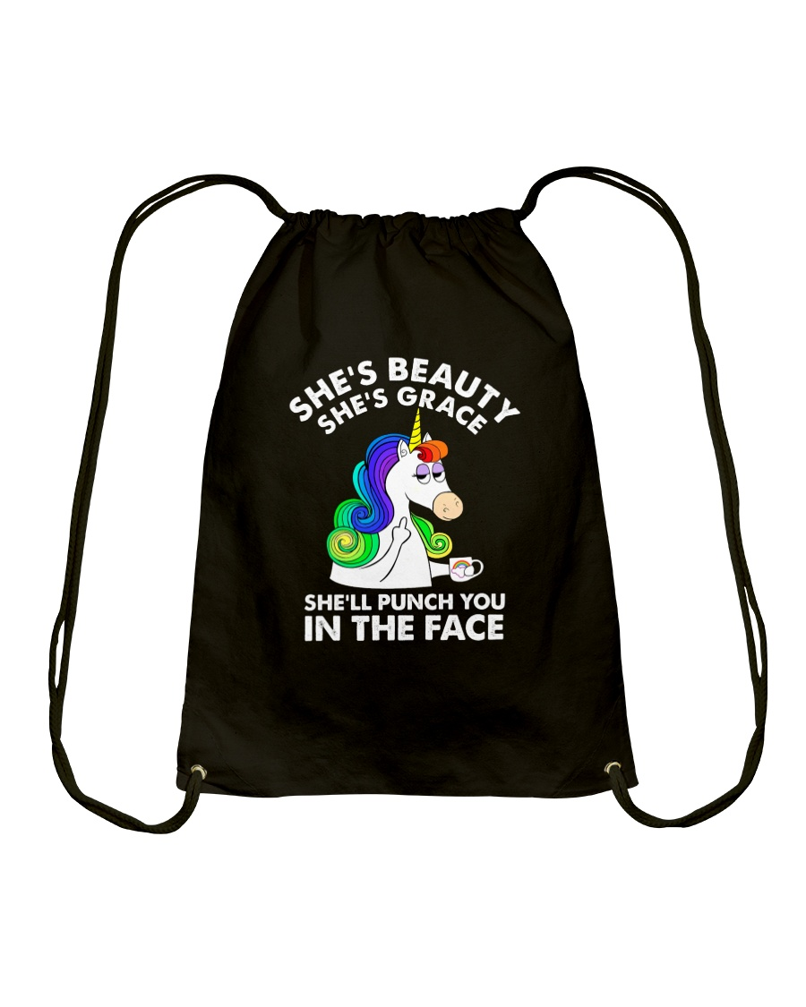 Unicorn in the face Drawstring Bag