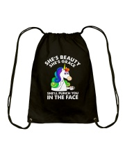 Unicorn in the face Drawstring Bag front