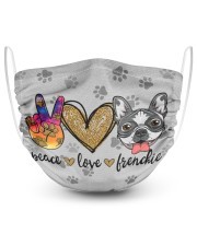 Peace Love Frenchie Face Mask 2 Layer Face Mask - Single front