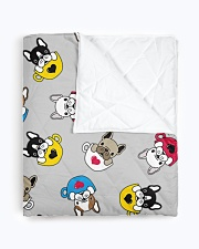 """Cute Frenchie in Cup Quilt 50""""x60"""" - Throw aos-quilt-50x60-lifestyle-closeup-front-01"""