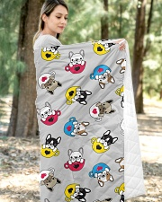 """Cute Frenchie in Cup Quilt 50""""x60"""" - Throw aos-quilt-50x60-lifestyle-front-05"""