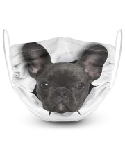 Black Frenchie Face Mask 2 Layer Face Mask - Single front