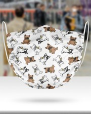 Frenchie Eating Pizza Face Mask 2 Layer Face Mask - Single aos-face-mask-2-layers-lifestyle-front-48