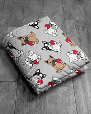 """Cute Frenchie in Cup Quilt 50""""x60"""" - Throw aos-quilt-50x60-lifestyle-closeup-front-06"""