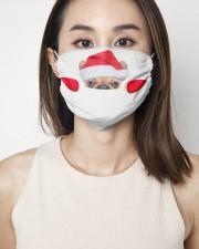 Santa Frenchie Peeking Face Mask 2 Layer Face Mask - Single aos-face-mask-2-layers-lifestyle-front-01