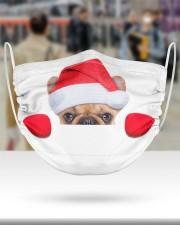 Santa Frenchie Peeking Face Mask 2 Layer Face Mask - Single aos-face-mask-2-layers-lifestyle-front-48