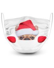 Santa Frenchie Peeking Face Mask 2 Layer Face Mask - Single front
