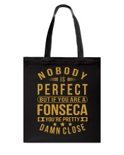NOBODY PERFECT FONSECA NAME SHIRTS Tote Bag thumbnail