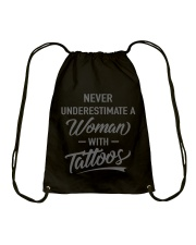 Tattoo T-shirt Never Underestimate  Drawstring Bag tile