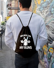 Work on my Buns muscle gym power muscle Drawstring Bag lifestyle-drawstringbag-front-1