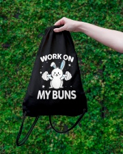 Work on my Buns muscle gym power muscle Drawstring Bag lifestyle-drawstringbag-front-3